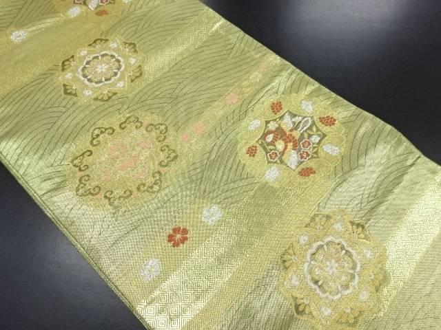 佐賀錦 波に華紋織り出し袋帯【リサイクル】【中古】