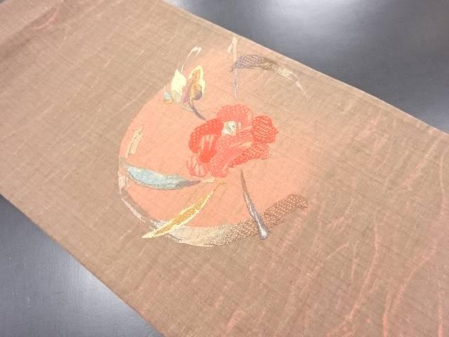 枝花模様刺繍袋帯【リサイクル】【中古】