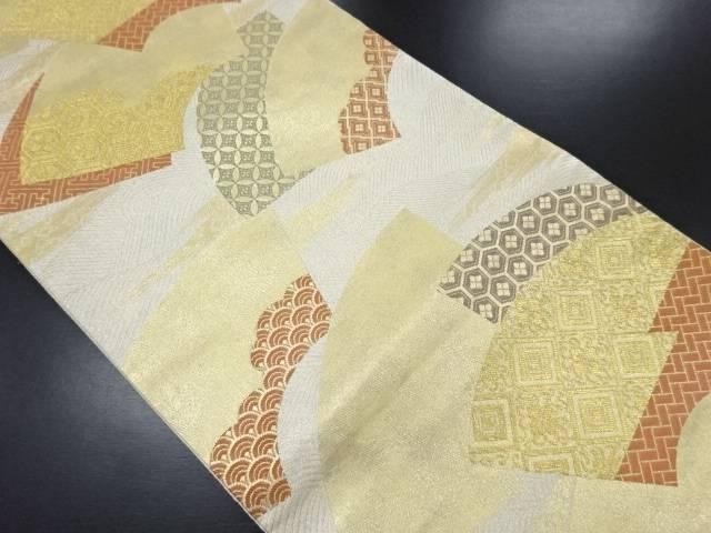 金銀糸地紙に古典柄織り出し袋帯【リサイクル】【中古】