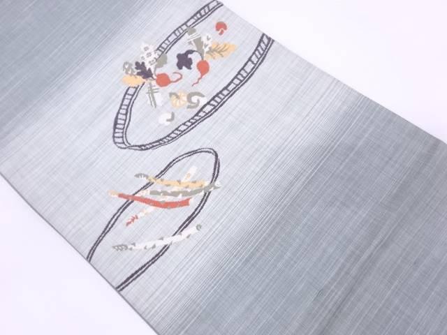 野菜模様織出し袋帯【リサイクル】【中古】