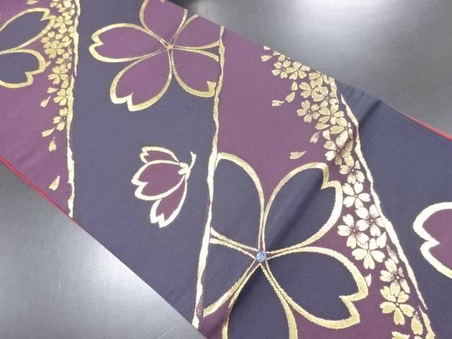金糸桜模様織り出し袋帯【リサイクル】【中古】