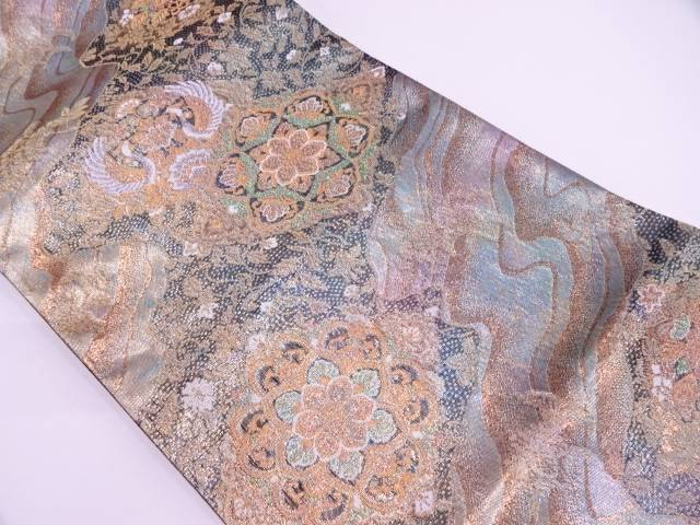 引箔流水に華紋・花鳥模様織出し袋帯【リサイクル】【中古】