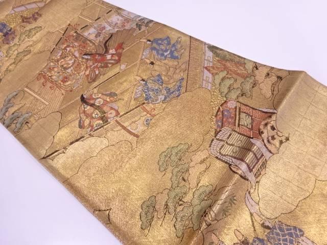 時代人物に御所車・風景模様織出し袋帯【リサイクル】【中古】