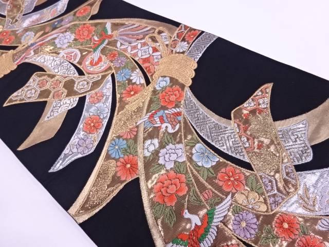 純金箔束ね熨斗に花鳥模様織出しリバーシブル袋帯【リサイクル】【中古】