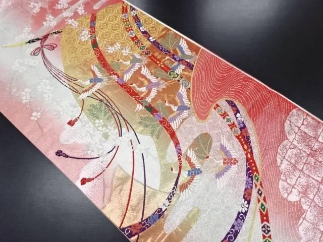 弐捨四金箔几帳に群鶴・枝垂れ桜模様織り出し袋帯【リサイクル】【中古】
