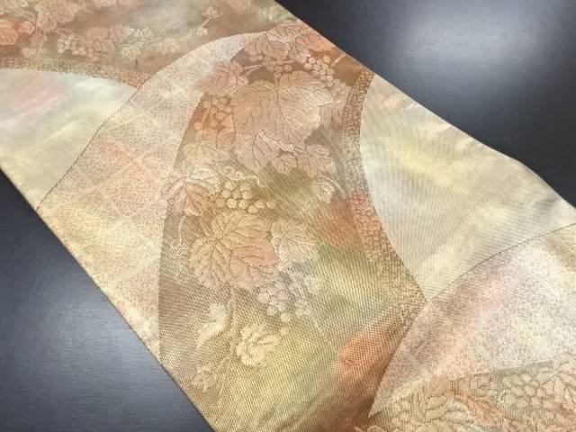 引箔葡萄唐草模様織り出し袋帯【リサイクル】【中古】