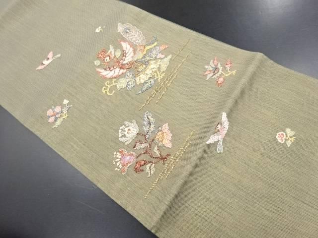 螺鈿鳳凰に花更紗模様刺繍袋帯【リサイクル】【中古】