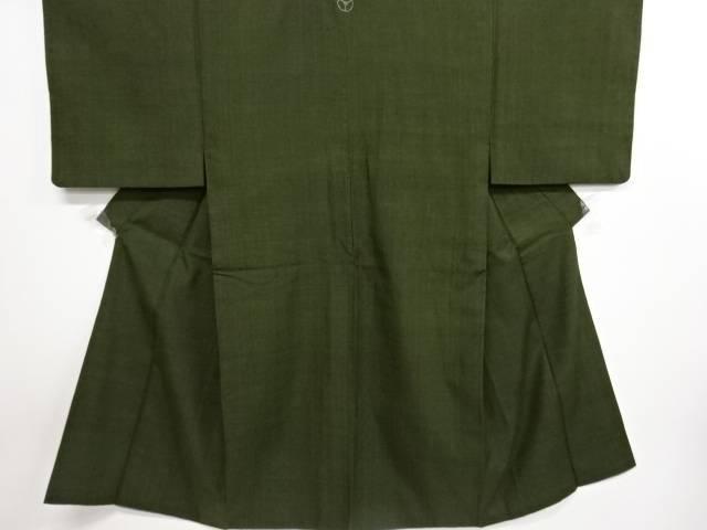 草木染一つ紋手織り真綿紬男物着物【リサイクル】【中古】