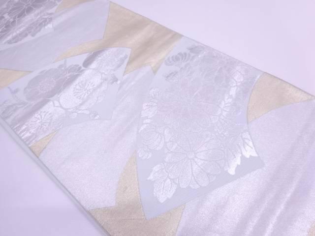 川島織物製 地紙に梅・菊模様織出し袋帯【リサイクル】【中古】