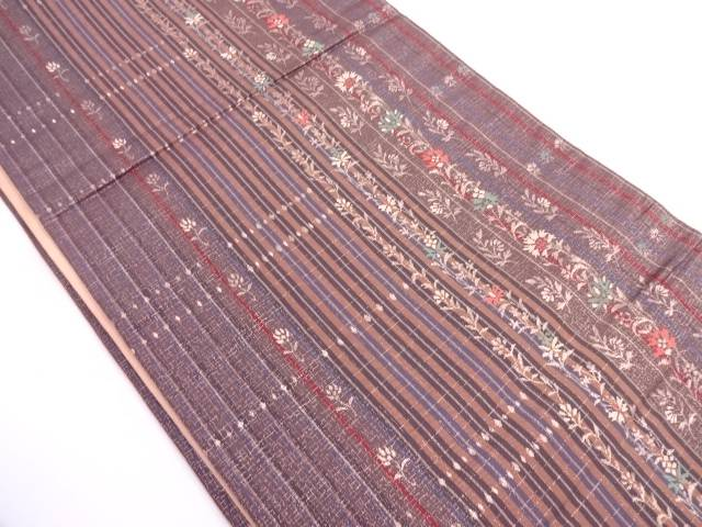縞に草花模様織出し袋帯【リサイクル】【中古】