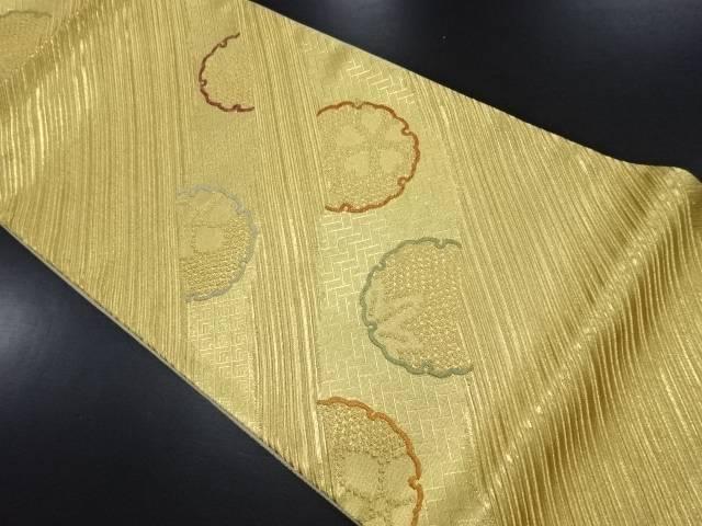 未使用品 本金線描きに雪輪・桜楓模様織り出し袋帯【リサイクル】【中古】