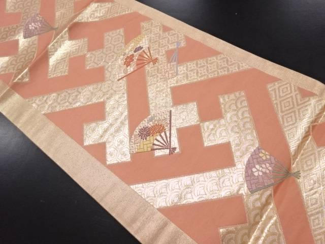 本金 古典柄に花扇模様織り出し袋帯【リサイクル】【中古】