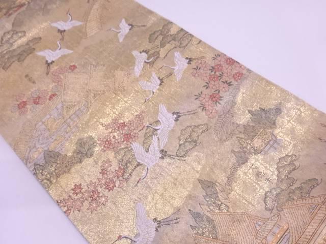 本金箔鶴に京風景模様織出しリバーシブル袋帯【リサイクル】【中古】