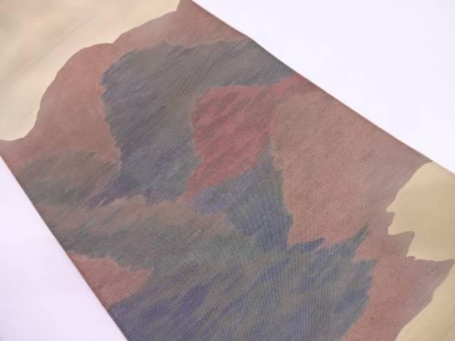 川島織物製 抽象山並み模様織出し袋帯(材料)【アンティーク】【中古】