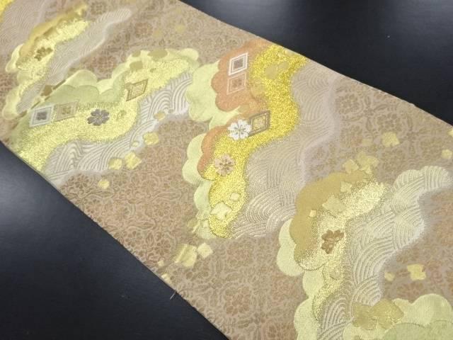 本金雲取りに波・桜・古典柄織り出し袋帯【リサイクル】【中古】