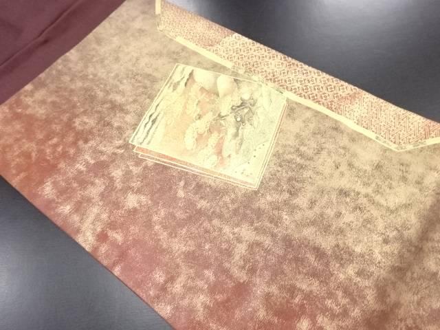 金彩重ね色紙に松・水辺風景模様名古屋帯【リサイクル】【中古】