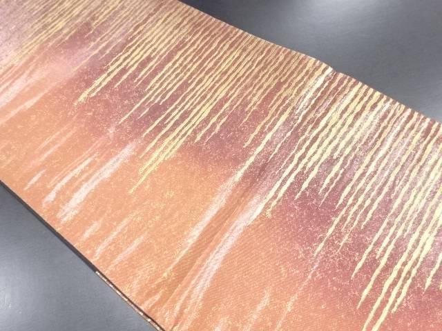本漆純金箔変わり横段模様織り出し暈し袋帯【リサイクル】【中古】
