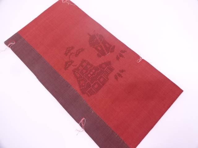未使用品 手織り真綿紬透かし織家屋に松・笹模様織出し名古屋帯【リサイクル】【中古】