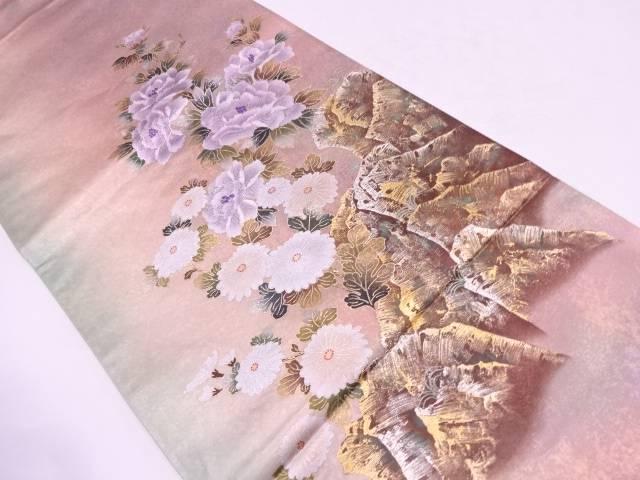 作家物 引箔金彩花に岩牡丹模様袋帯【リサイクル】【中古】