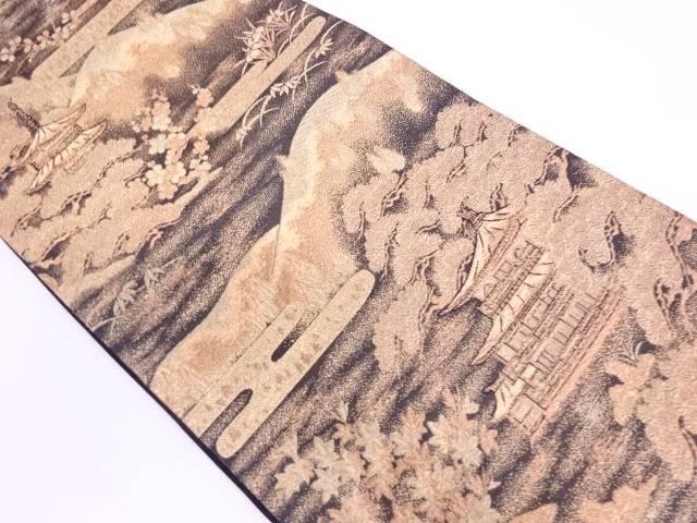 山並みに松・寺院風景模様織出し袋帯【リサイクル】【中古】