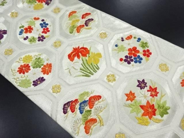 蜀江に松・梅・菊模様織り出し袋帯【リサイクル】【中古】