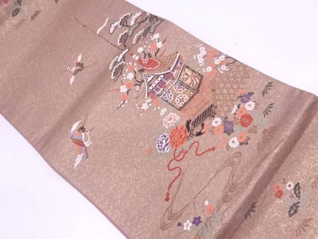 山鉾に鶴・松模様織出し袋帯【リサイクル】【中古】