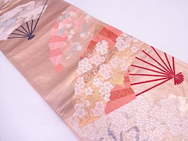 扇に桜模様織出し袋帯【リサイクル】【中古】