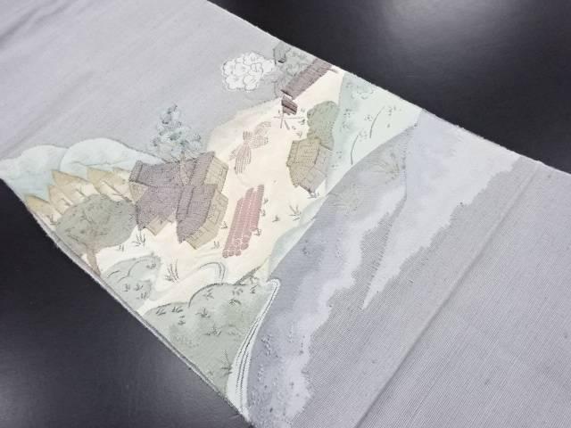 手織り紬田舎風景模様織り出し名古屋帯【リサイクル】【中古】