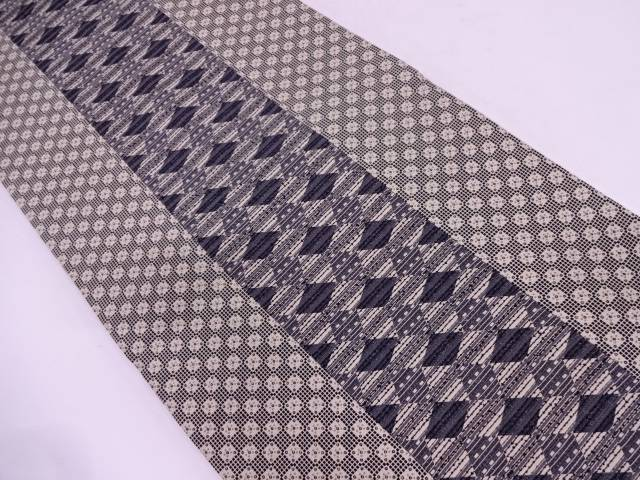 縞に抽象模様織出し全通袋帯【リサイクル】【中古】