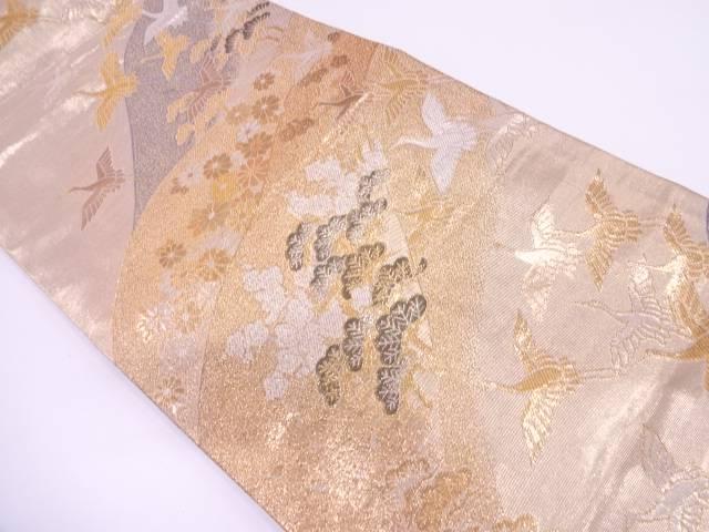 群鶴に松・梅模様織出し袋帯【リサイクル】【中古】