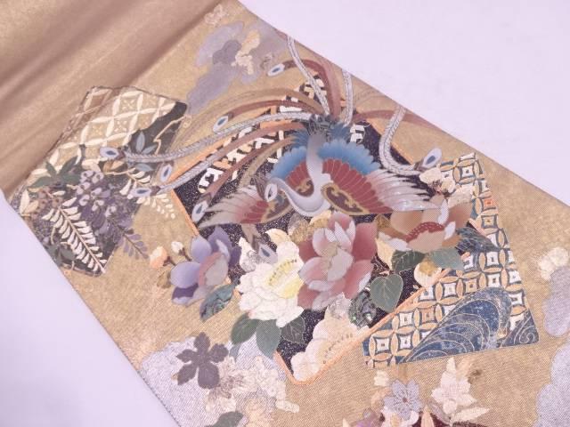 未使用品 作家物 引箔螺鈿色紙に鳳凰・草花模様織出し袋帯【リサイクル】【中古】