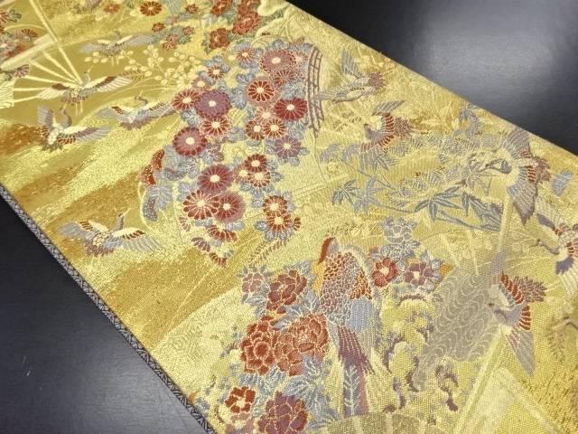 やまひで製 金糸扇面に花鳥模様織り出し袋帯【リサイクル】【中古】