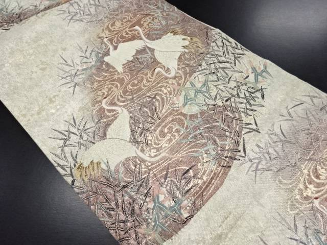 金糸水辺に芦白鶴文織り出し袋帯【リサイクル】【中古】