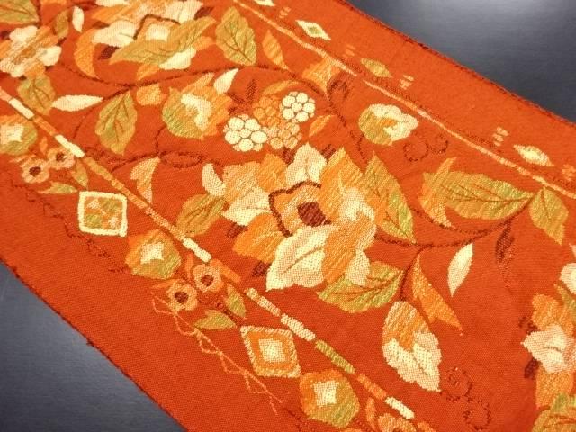 手織り紬 唐花模様織り出し名古屋帯【リサイクル】【中古】