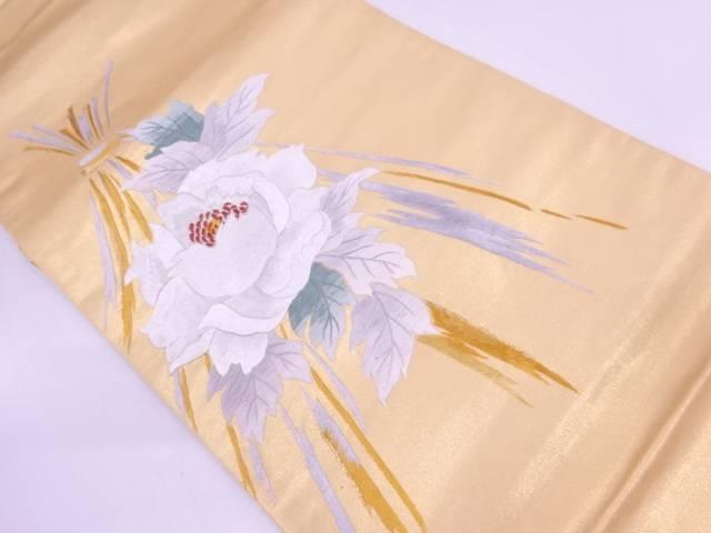 未使用品 牡丹模様刺繍袋帯【リサイクル】【中古】
