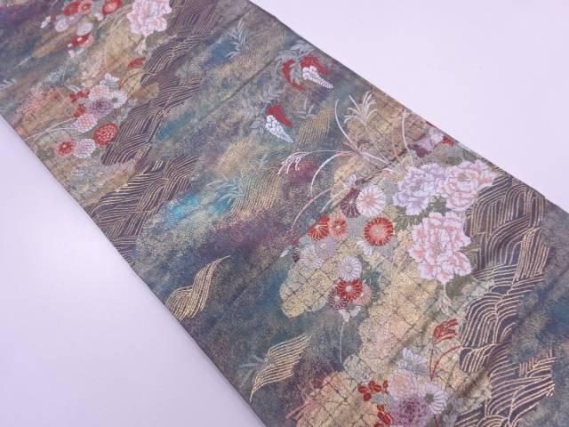 波に雲取り・花模様織出し袋帯【リサイクル】【中古】