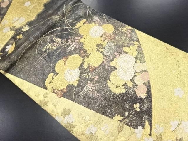 本金菊・萩・桜模様織り出し袋帯【リサイクル】【中古】