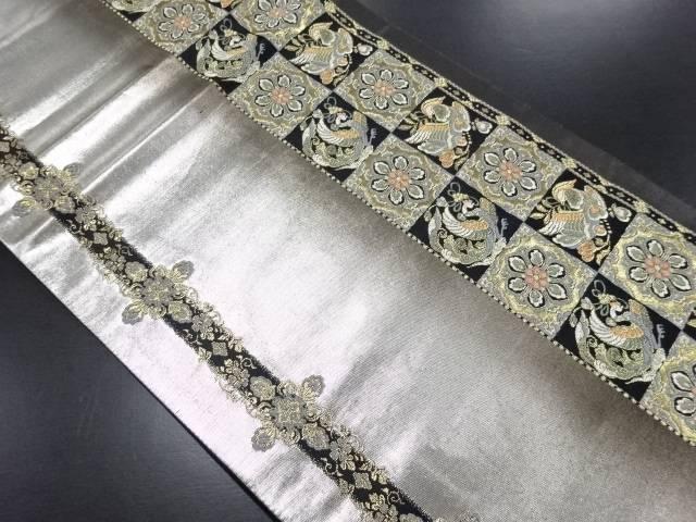 金糸市松に鳳凰・華紋模様織り出し袋帯【リサイクル】【中古】