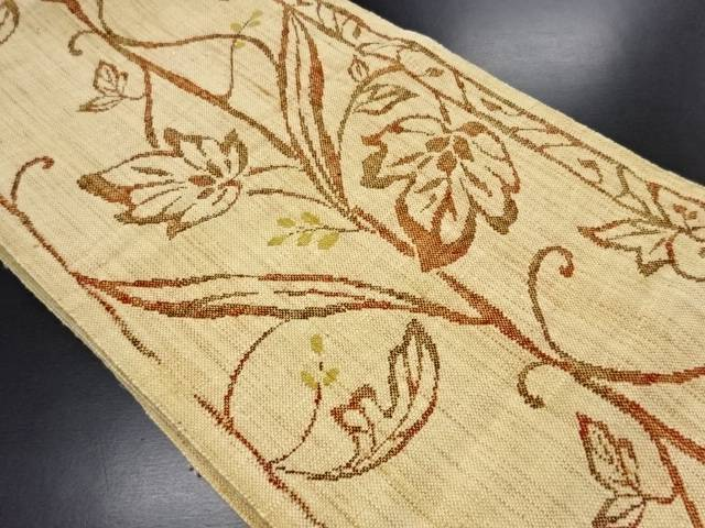 手織り真綿紬 蔦の葉模様織り出し名古屋帯【リサイクル】【中古】