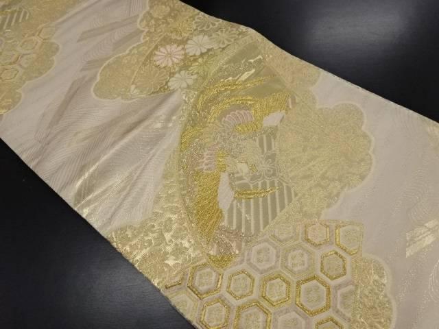 金糸扇面に鳳凰・菊模様織り出し袋帯【リサイクル】【中古】