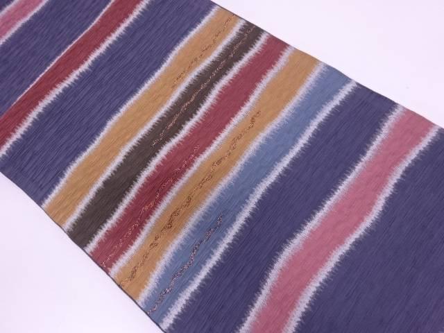 纐纈変わり横段模様刺繍袋帯【リサイクル】【中古】