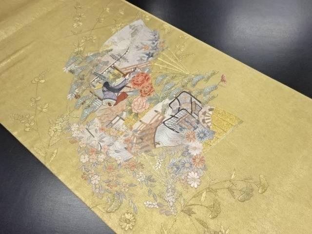 手刺繍扇面に十二単・御所車・草花模様袋帯【リサイクル】【中古】