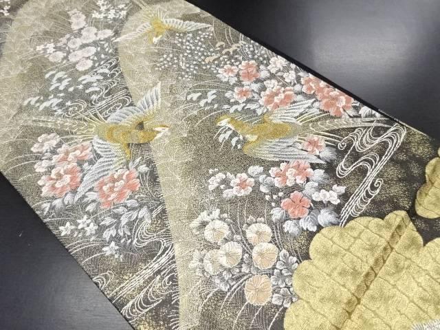 24K純金箔深山花鳥文織り出し袋帯【リサイクル】【中古】