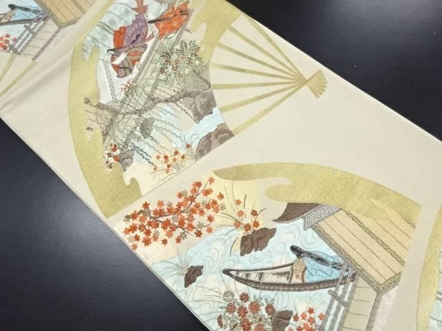 扇面に十二単・屋敷風景模様織り出し袋帯【リサイクル】【中古】