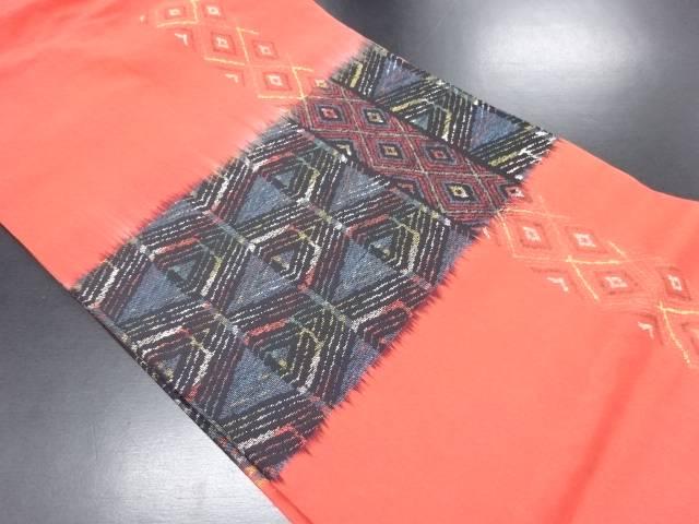 重ね菱模様織り出し名古屋帯【リサイクル】【中古】