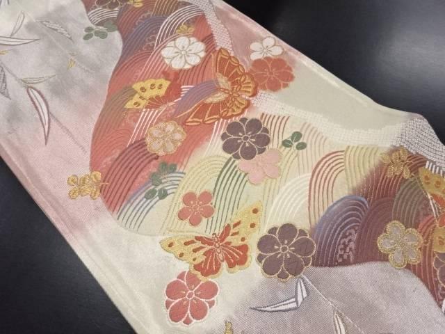 引箔霞取りに八重梅・蝶・波模様織り出し袋帯【リサイクル】【中古】
