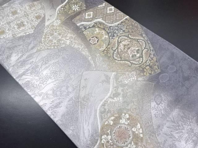 金銀糸色紙に花更紗模様織り出し袋帯【リサイクル】【中古】