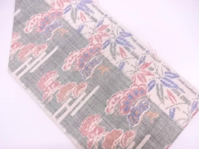 未使用品 小千谷紬松に笹模様織出し名古屋帯【リサイクル】【中古】