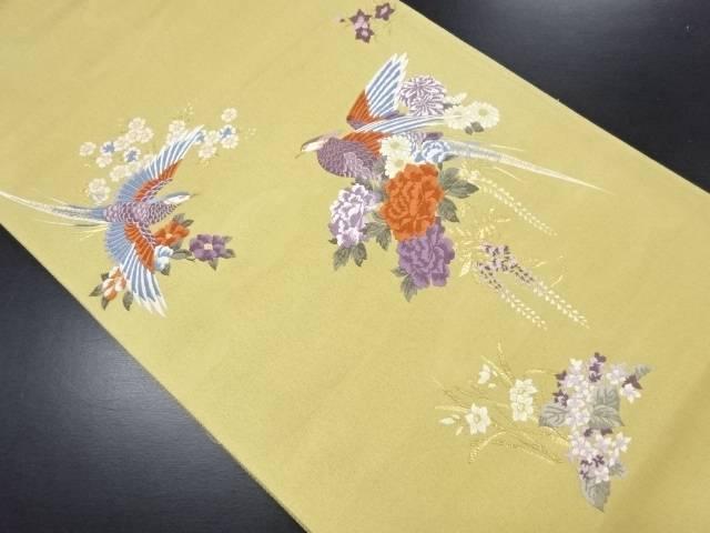 本金箔九百錦花鳥模様織り出し袋帯【リサイクル】【中古】