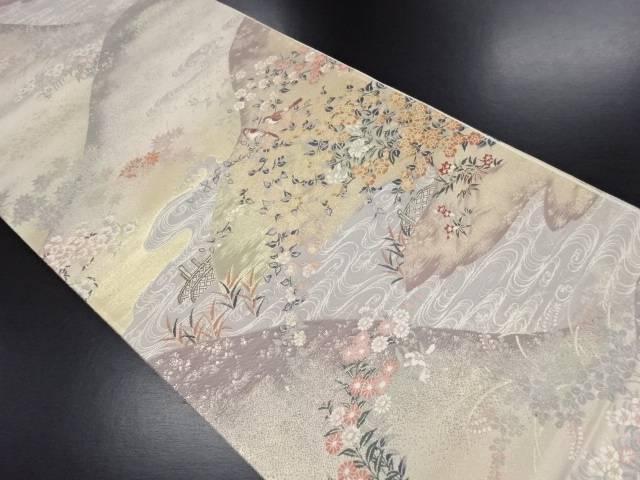 本金遠山に流水・花鳥模様織り出し袋帯【リサイクル】【中古】